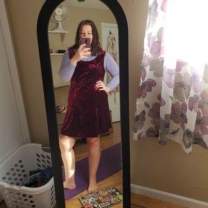 OX crushed velvet skater dress